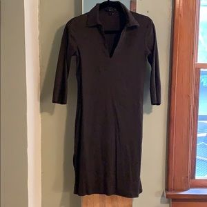 Theory Brown Linen Tunic with 3/4 Sleeves